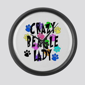 Crazy Beagle Lady Large Wall Clock