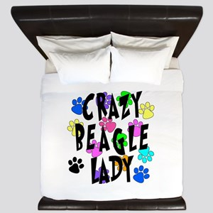 Crazy Beagle Lady King Duvet