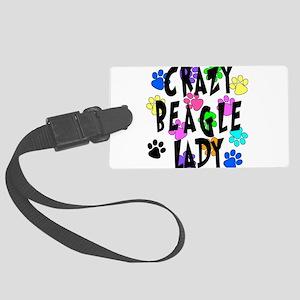 Crazy Beagle Lady Large Luggage Tag
