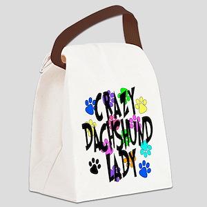 Crazy Dachshund Lady Canvas Lunch Bag