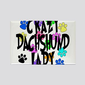 Crazy Dachshund Lady Rectangle Magnet