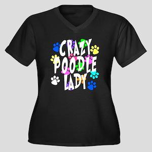Crazy Poodle Lady Women's Plus Size V-Neck Dark T-