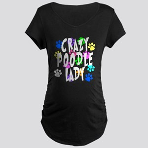 Crazy Poodle Lady Maternity Dark T-Shirt