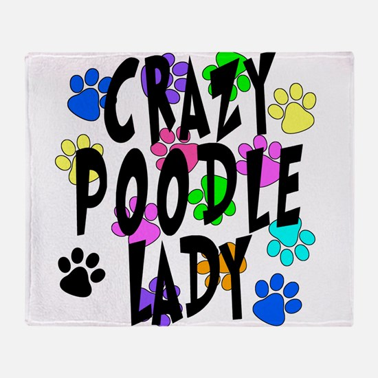 Crazy Poodle Lady Throw Blanket