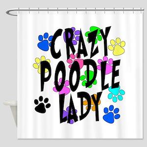 Crazy Poodle Lady Shower Curtain