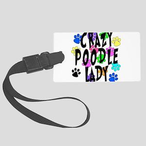 Crazy Poodle Lady Large Luggage Tag