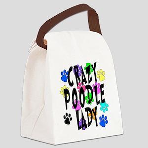 Crazy Poodle Lady Canvas Lunch Bag