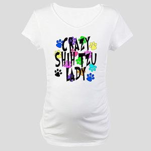 Crazy Shih Tzu Lady Maternity T-Shirt