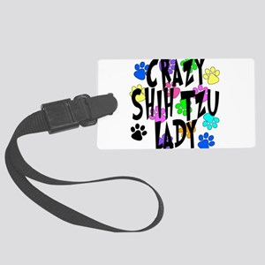 Crazy Shih Tzu Lady Large Luggage Tag
