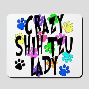 Crazy Shih Tzu Lady Mousepad