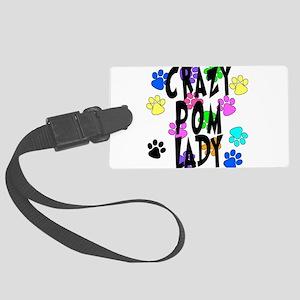 Crazy Pom Lady Large Luggage Tag