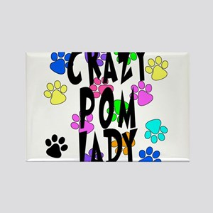 Crazy Pom Lady Rectangle Magnet