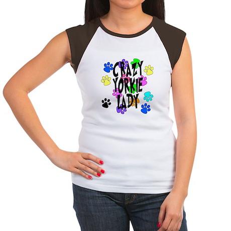 Crazy Yorkie Lady Women's Cap Sleeve T-Shirt