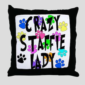 Crazy Staffie Lady Throw Pillow