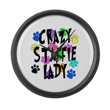 Crazy Staffie Lady Large Wall Clock by breedwear