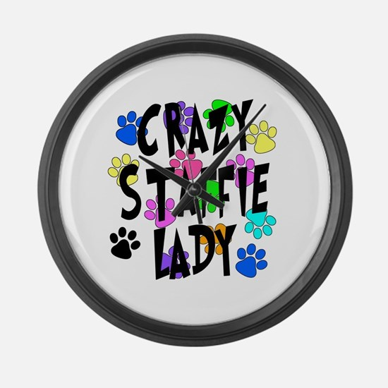 Crazy Staffie Lady Large Wall Clock