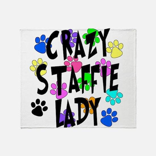 Crazy Staffie Lady Throw Blanket
