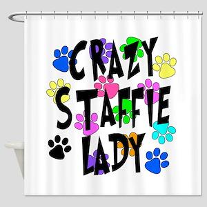 Crazy Staffie Lady Shower Curtain
