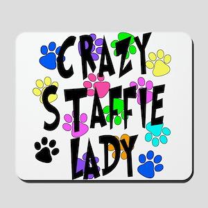 Crazy Staffie Lady Mousepad