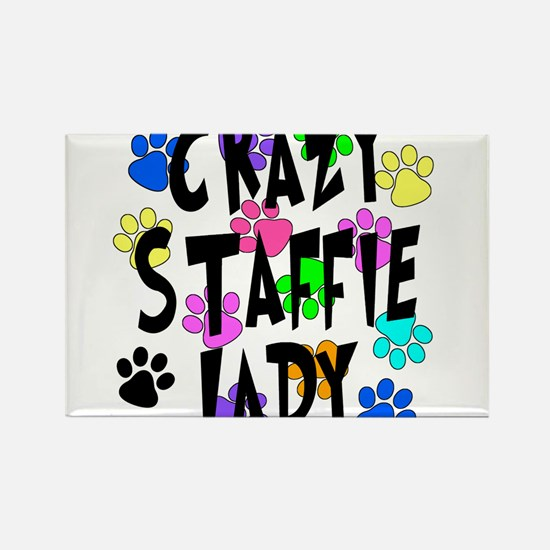 Crazy Staffie Lady Rectangle Magnet