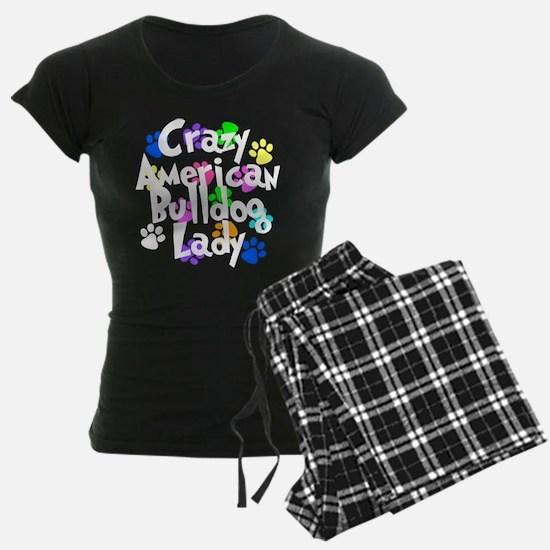 Crazy American Bulldog Lady Pajamas