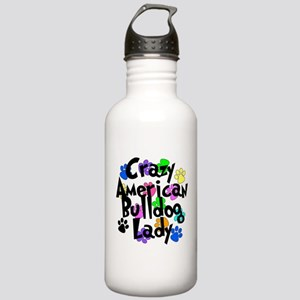 Crazy American Bulldog Lady Stainless Water Bottle