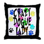 Crazy Dogue Lady Throw Pillow