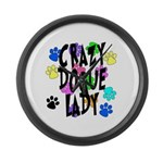 Crazy Dogue Lady Large Wall Clock