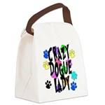 Crazy Dogue Lady Canvas Lunch Bag