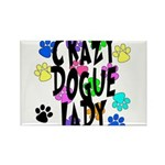 Crazy Dogue Lady Rectangle Magnet