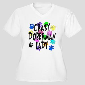 Crazy Doberman Lady Women's Plus Size V-Neck T-Shi