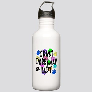 Crazy Doberman Lady Stainless Water Bottle 1.0L