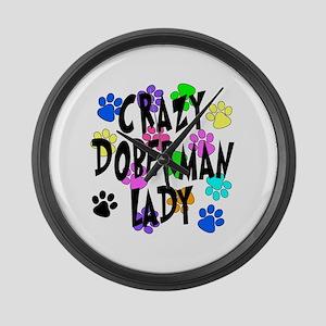 Crazy Doberman Lady Large Wall Clock