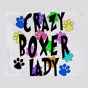 Crazy Boxer Lady Throw Blanket