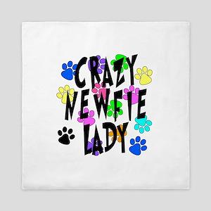 Crazy Newfie Lady Queen Duvet