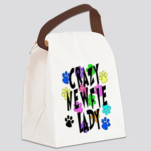 Crazy Newfie Lady Canvas Lunch Bag
