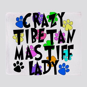 Crazy Tibetan Mastiff Lady Throw Blanket