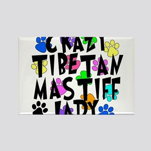 Crazy Tibetan Mastiff Lady Rectangle Magnet