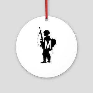 Military Monogram M Ornament (Round)