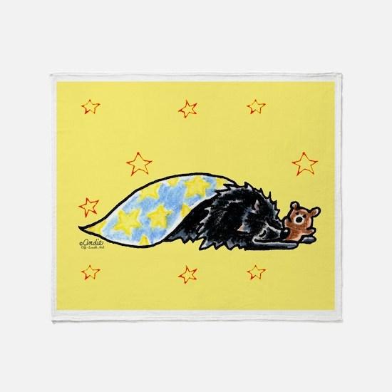 Black Pomeranian Bear Throw Blanket