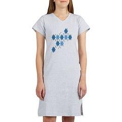 Blue Evil Argyle Women's Nightshirt