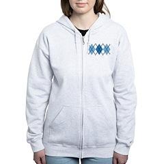 Blue Evil Argyle Women's Zip Hoodie