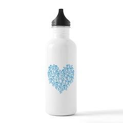 Blue Skull Heart Stainless Water Bottle Water Bottle