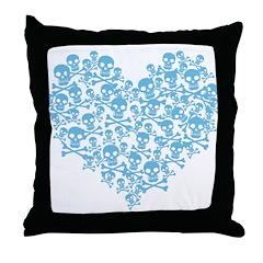 Blue Skull Heart Throw Pillow