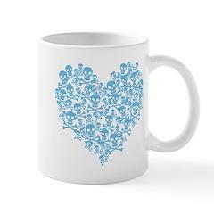 Blue Skull Heart Mug