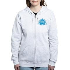 Blue Gothic Crown Women's Zip Hoodie