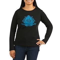 Blue Gothic Crown Women's Long Sleeve Dark T-Shirt