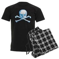 Classic Skull And Crossbones Blue Men's Dark Pajam