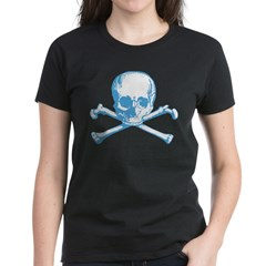 Classic Skull And Crossbones Blue Women's Dark T-S