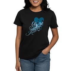 Blue Heart With Skulls And Swirls Women's Dark T-S